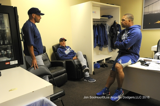 Los Angeles Dodgers Dave Roberts talks to his coaches prior to game against the San Francisco Giants Friday, June 10, 2016 at AT&T Park in San Francisco, California. Photo by Jon SooHoo/© Los Angeles Dodgers,LLC 2016