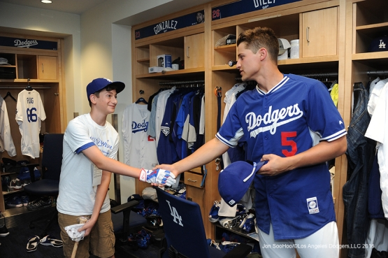 Los Angeles Dodgers Corey Seager poses with Landon Byskal of Newark, Delaware prior to game against the Colorado Rockies Tuesday, June 7, 2016 at Dodger Stadium in Los Angeles,California. Photo by Jon SooHoo/© Los Angeles Dodgers,LLC 2016