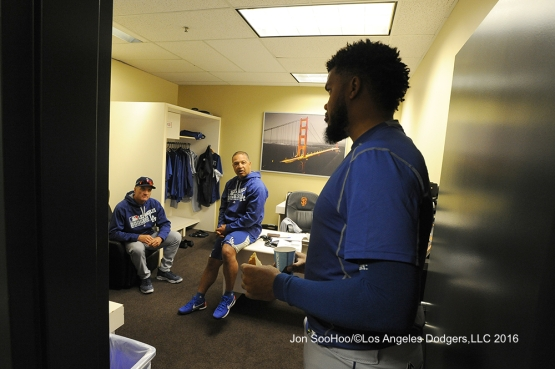 Kenley Jansen talks to manager Dave Roberts prior to game against the San Francisco Giants Friday, June 10, 2016 at AT&T Park in San Francisco, California. Photo by Jon SooHoo/© Los Angeles Dodgers,LLC 2016