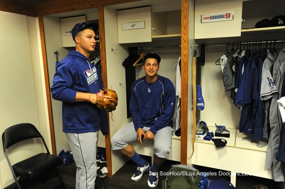Joc Pederson and Corey Seager talk prior to game against the San Francisco Giants Friday, June 10, 2016 at AT&T Park in San Francisco, California. Photo by Jon SooHoo/© Los Angeles Dodgers,LLC 2016