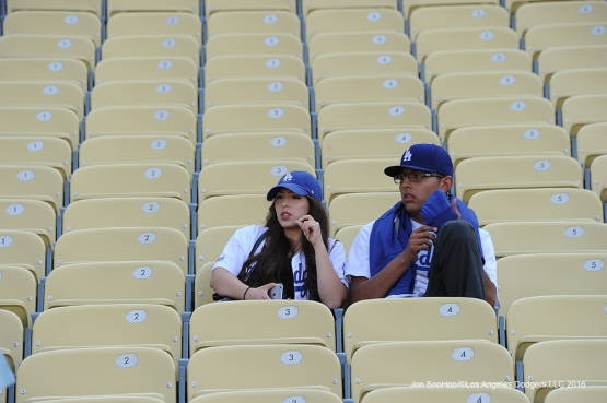 Great Los Angeles Dodger fans sit prior to game against the Colorado Rockies Tuesday, June 7, 2016 at Dodger Stadium in Los Angeles,California. Photo by Jon SooHoo/© Los Angeles Dodgers,LLC 2016