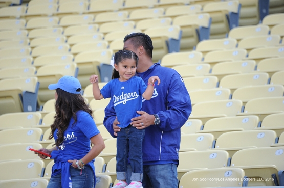 Great Los Angeles Dodger fan smiles prior to game against the Colorado Rockies Tuesday, June 7, 2016 at Dodger Stadium in Los Angeles,California. Photo by Jon SooHoo/© Los Angeles Dodgers,LLC 2016