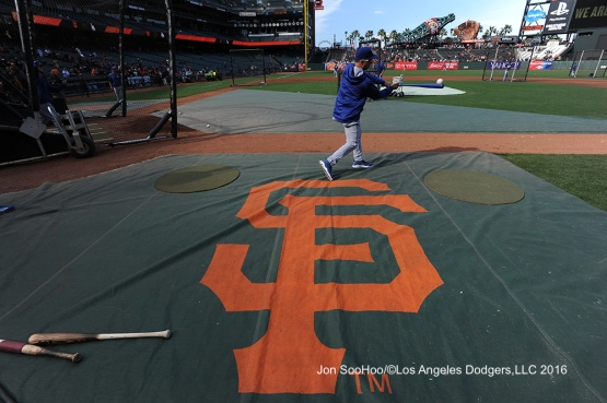 Bob Geren hits grounders prior to game against the San Francisco Giants Friday, June 10, 2016 at AT&T Park in San Francisco, California. Photo by Jon SooHoo/© Los Angeles Dodgers,LLC 2016