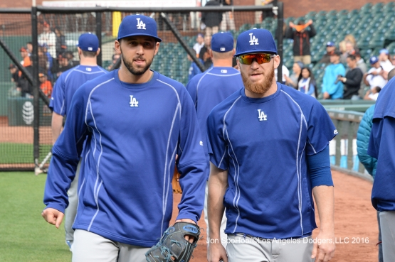 Los Angeles Dodgers Mike Bolsinger and J.P. Howell walk to the dugout prior to game against the San Francisco Giants Friday, June 10, 2016 at AT&T Park in San Francisco, California. Photo by Jon SooHoo/© Los Angeles Dodgers,LLC 2016