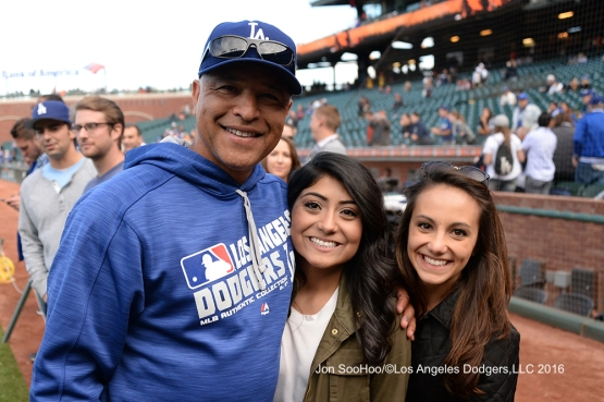 Great Los Angeles Dodger fans pose with Dave Roberts prior to game against the San Francisco Giants Friday, June 10, 2016 at AT&T Park in San Francisco, California. Photo by Jon SooHoo/© Los Angeles Dodgers,LLC 2016