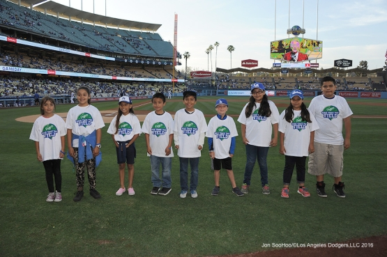 Kids Taking the Field pose prior to game against the Colorado Rockies Tuesday, June 7, 2016 at Dodger Stadium in Los Angeles,California. Photo by Jon SooHoo/© Los Angeles Dodgers,LLC 2016