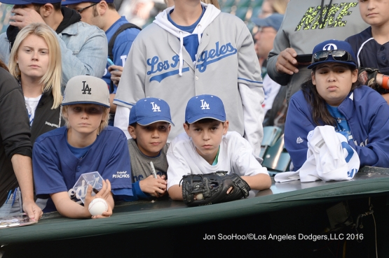 Great Los Angeles Dodger fans look on prior to game against the San Francisco Giants Friday, June 10, 2016 at AT&T Park in San Francisco, California. Photo by Jon SooHoo/© Los Angeles Dodgers,LLC 2016