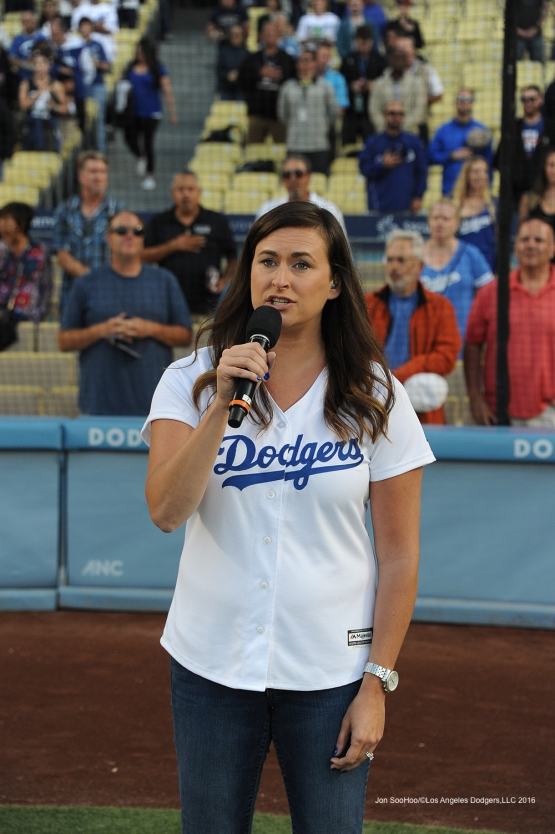 Lauren Kadish sings the anthem before Los Angeles Dodgers game against the Colorado Rockies Tuesday, June 7, 2016 at Dodger Stadium in Los Angeles,California. Photo by Jon SooHoo/© Los Angeles Dodgers,LLC 2016