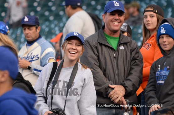 Great Los Angeles Dodger fans pose prior to game against the San Francisco Giants Friday, June 10, 2016 at AT&T Park in San Francisco, California. Photo by Jon SooHoo/© Los Angeles Dodgers,LLC 2016