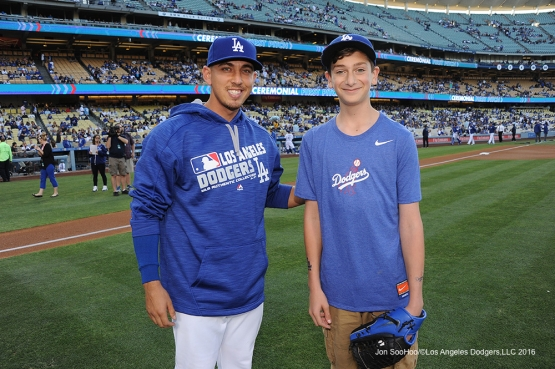 Austin Barnes poses with Landon Byskal of Newark, Delaware  Tuesday, June 7, 2016 at Dodger Stadium in Los Angeles,California. Photo by Jon SooHoo/© Los Angeles Dodgers,LLC 2016