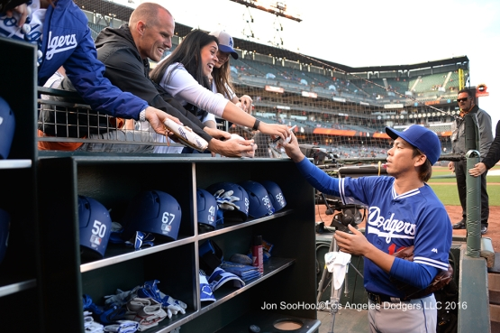 Kenta Maeda signs for fans prior to game against the San Francisco Giants Friday, June 10, 2016 at AT&T Park in San Francisco, California. Photo by Jon SooHoo/© Los Angeles Dodgers,LLC 2016