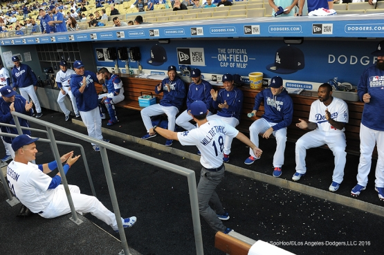 Los Angeles Dodgers Will Ireton warms up the dugout prior to game against the Colorado Rockies Tuesday, June 7, 2016 at Dodger Stadium in Los Angeles,California. Photo by Jon SooHoo/© Los Angeles Dodgers,LLC 2016