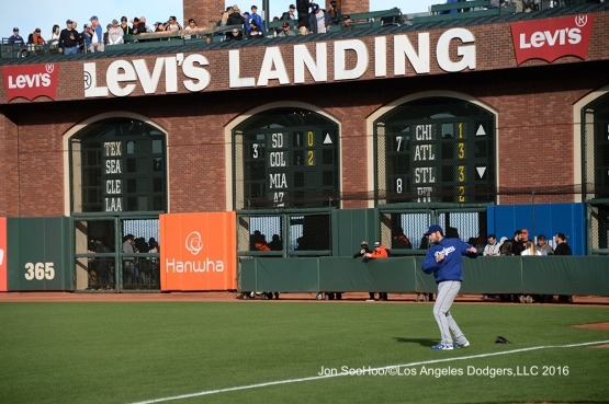 Los Angeles Dodgers Clayton Kershaw warms up prior to game against the San Francisco Giants Friday, June 10, 2016 at AT&T Park in San Francisco, California. Photo by Jon SooHoo/© Los Angeles Dodgers,LLC 2016
