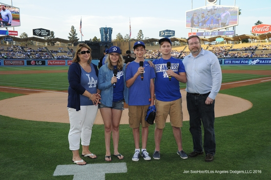 The Byskal Family of Newark, Delaware says #ITFDB prior to game against the Colorado Rockies Tuesday, June 7, 2016 at Dodger Stadium in Los Angeles,California. Photo by Jon SooHoo/© Los Angeles Dodgers,LLC 2016