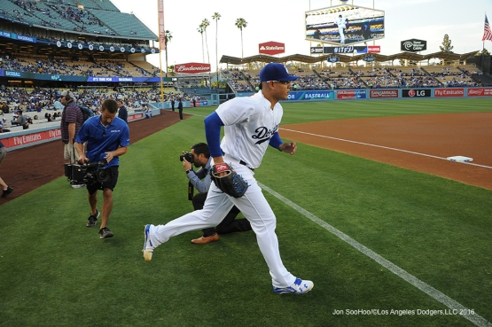 Los Angeles Dodgers Julio Urias takes the field in game against the Colorado Rockies Tuesday, June 7, 2016 at Dodger Stadium in Los Angeles,California. Photo by Jon SooHoo/© Los Angeles Dodgers,LLC 2016