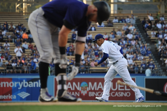 Los Angeles Dodgers Julio Urias gets out of the first against the Colorado Rockies Tuesday, June 7, 2016 at Dodger Stadium in Los Angeles,California. Photo by Jon SooHoo/© Los Angeles Dodgers,LLC 2016