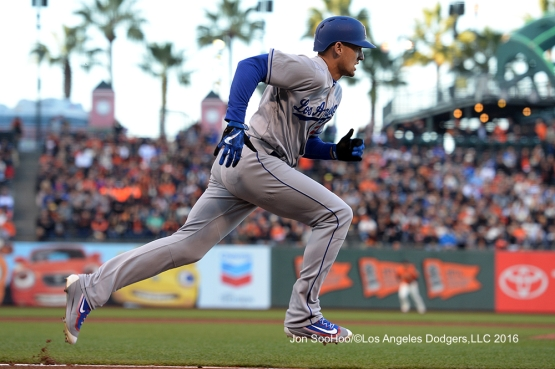 Los Angeles Dodgers Trayce Thompson heads to first base against the San Francisco Giants Friday, June 10, 2016 at AT&T Park in San Francisco, California. Photo by Jon SooHoo/© Los Angeles Dodgers,LLC 2016