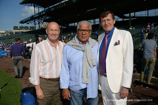 Stan Kasten, Pat Corrales and Craig Sager pose before Los Angeles Dodgers vs the Chicago Cubs Wednesday, June 1,2016 at Wrigley Field in Chicago,Illinois. Photo by Jon SooHoo/©Los Angeles Dodgers,LLC 2016