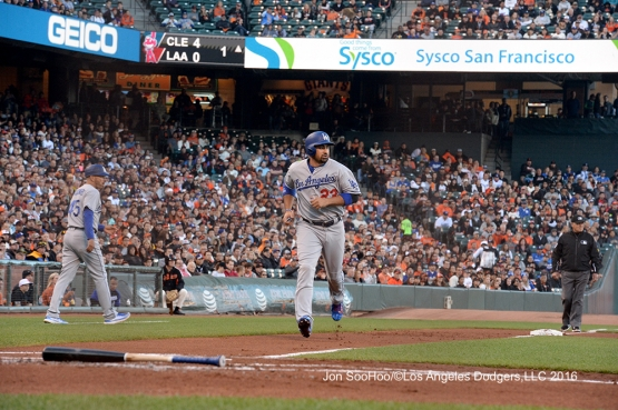 Los Angeles Dodgers Adrian Gonzalez scores against the San Francisco Giants Friday, June 10, 2016 at AT&T Park in San Francisco, California. Photo by Jon SooHoo/© Los Angeles Dodgers,LLC 2016