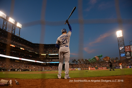 Los Angeles Dodgers Trayce Thompson against the San Francisco Giants Friday, June 10, 2016 at AT&T Park in San Francisco, California. Photo by Jon SooHoo/© Los Angeles Dodgers,LLC 2016
