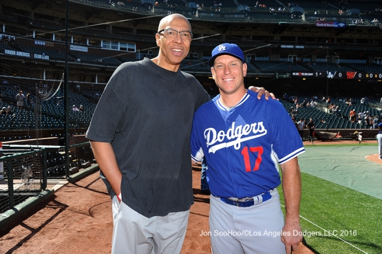 Los Angeles Dodgers A.J. Ellis with Trayce Thompson's father Mychal pose prior to game against the San Francisco Giants Sunday, June 12, 2016 at AT&T Park in San Francisco, California. Photo by Jon SooHoo/© Los Angeles Dodgers,LLC 2016