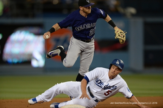 Los Angeles Dodgers Corey Seager breaks up a double play against the Colorado Rockies Tuesday, June 7, 2016 at Dodger Stadium in Los Angeles,California. Photo by Jon SooHoo/© Los Angeles Dodgers,LLC 2016