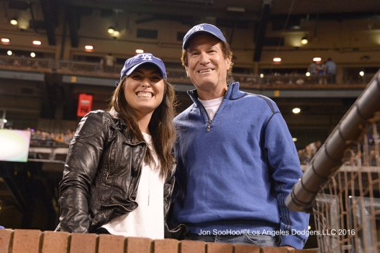 Great Los Angeles Dodger fans pose during game against the San Francisco Giants Friday, June 10, 2016 at AT&T Park in San Francisco, California. Photo by Jon SooHoo/© Los Angeles Dodgers,LLC 2016