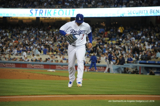 Los Angeles Dodgers Julio Urias gets out of the inning against the Colorado Rockies Tuesday, June 7, 2016 at Dodger Stadium in Los Angeles,California. Photo by Jon SooHoo/© Los Angeles Dodgers,LLC 2016