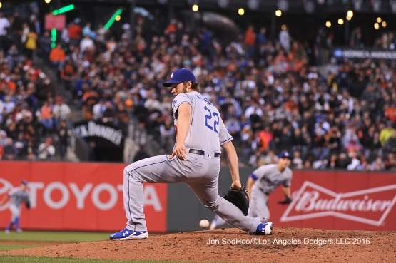 Clayton Kershaw pitches against the San Francisco Giants Friday, June 10, 2016 at AT&T Park in San Francisco, California. Photo by Jon SooHoo/© Los Angeles Dodgers,LLC 2016