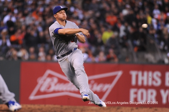 Los Angeles Dodgers Corey Seager throws to first against the San Francisco Giants Friday, June 10, 2016 at AT&T Park in San Francisco, California. Photo by Jon SooHoo/© Los Angeles Dodgers,LLC 2016