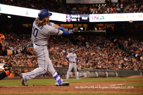 Los Angeles Dodgers Justin Turner homers against the San Francisco Giants Friday, June 10, 2016 at AT&T Park in San Francisco, California. Photo by Jon SooHoo/© Los Angeles Dodgers,LLC 2016