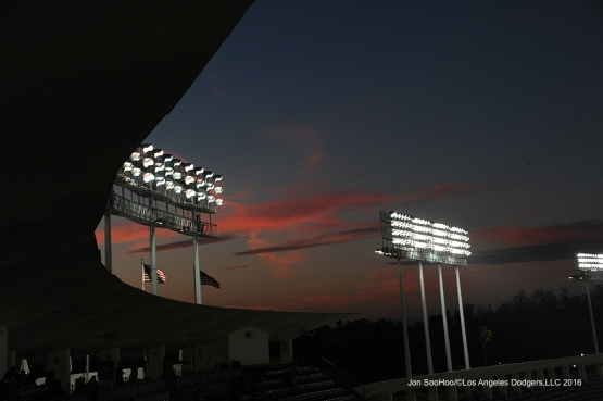 Sunset at Los Angeles Dodgers game against the Colorado Rockies Tuesday, June 7, 2016 at Dodger Stadium in Los Angeles,California. Photo by Jon SooHoo/© Los Angeles Dodgers,LLC 2016