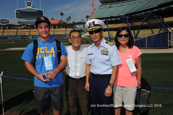 Great Los Angeles Dodger fans pose prior to game against the Milwaukee Brewers Satuday, June 18, 2016 at Dodger Stadium. Photo by Jon SooHoo