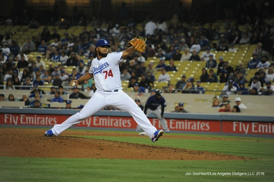 Los Angeles Dodgers Kenley Jansen pitches against the Colorado Rockies Tuesday, June 7, 2016 at Dodger Stadium in Los Angeles,California. Photo by Jon SooHoo/© Los Angeles Dodgers,LLC 2016