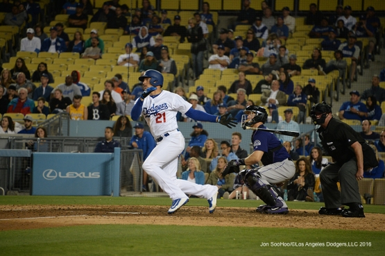 Los Angeles Dodgers Trayce Thompson hits walk off  home run against the Colorado Rockies Tuesday, June 7, 2016 at Dodger Stadium in Los Angeles,California. Photo by Jon SooHoo/© Los Angeles Dodgers,LLC 2016