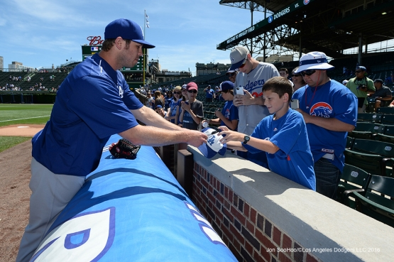 Los Angeles Dodgers Casey Fien signs for fans prior to game vs the Chicago Cubs Thursday, June 2,2016 at Wrigley Field in Chicago,Illinois. Photo by Jon SooHoo/©Los Angeles Dodgers,LLC 2016