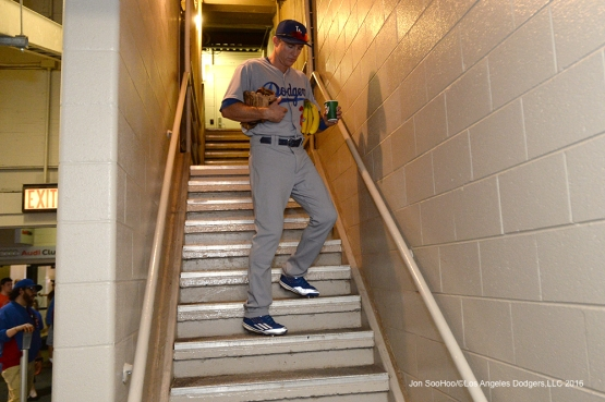 Los Angeles Dodgers Chase Utley heads to the field prior to game vs the Chicago Cubs Thursday, June 2,2016 at Wrigley Field in Chicago,Illinois. Photo by Jon SooHoo/©Los Angeles Dodgers,LLC 2016