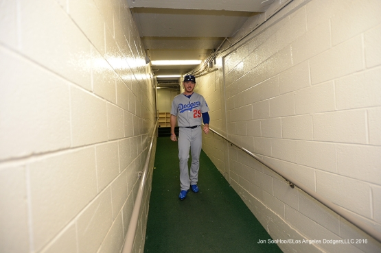 Scott Kazmir  heads to the field prior to game vs the Chicago Cubs Thursday, June 2,2016 at Wrigley Field in Chicago,Illinois. Photo by Jon SooHoo/©Los Angeles Dodgers,LLC 2016