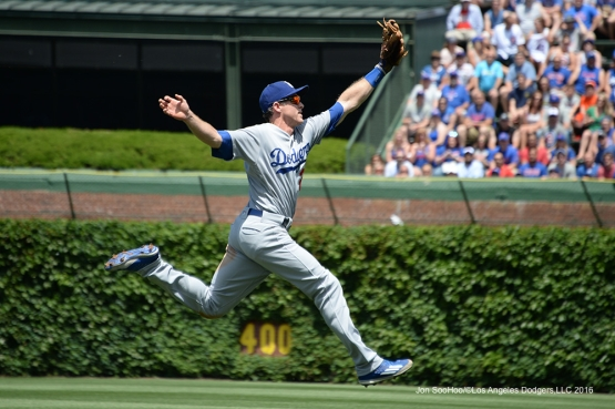 Los Angeles Dodgers Chase Utley can't get to ball vs the Chicago Cubs Thursday, June 2,2016 at Wrigley Field in Chicago,Illinois. Photo by Jon SooHoo/©Los Angeles Dodgers,LLC 2016