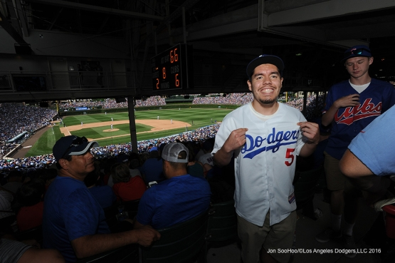 Great Los Angeles Dodger fan during game vs the Chicago Cubs Thursday, June 2,2016 at Wrigley Field in Chicago,Illinois. Photo by Jon SooHoo/©Los Angeles Dodgers,LLC 2016