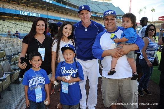 Great Los Angeles Dodgers fans pose with Chase Utley prior to game against the Atlanta Braves Friday, June 3, 2016 at Dodger Stadium in Los Angeles,California. Photo by Jon SooHoo/© Los Angeles Dodgers,LLC 2016