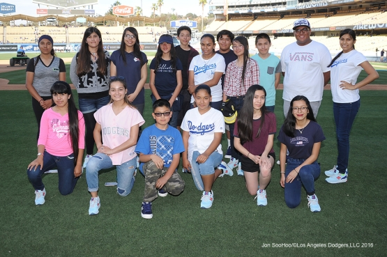 Guests of Andre Ethier pose prior to game against the Atlanta Braves Friday, June 3, 2016 at Dodger Stadium in Los Angeles,California. Photo by Jon SooHoo/© Los Angeles Dodgers,LLC 2016