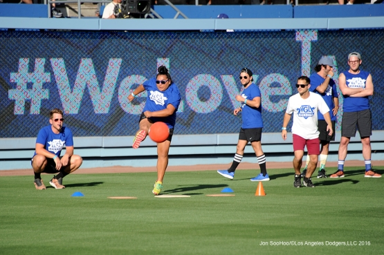 Los Angeles Dodgers LGBT Night Kick Ball game prior to game against the Atlanta Braves Friday, June 3, 2016 at Dodger Stadium in Los Angeles,California. Photo by Jon SooHoo/© Los Angeles Dodgers,LLC 2016
