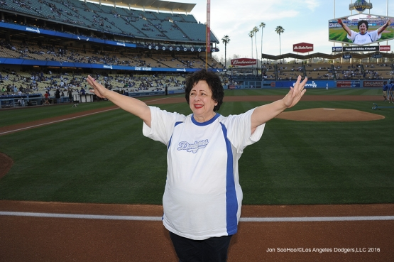 Molina Healthcare Champion of the Game Sylvia Olivares poses prior to game against the Atlanta Braves Friday, June 3, 2016 at Dodger Stadium in Los Angeles,California. Photo by Jon SooHoo/© Los Angeles Dodgers,LLC 2016