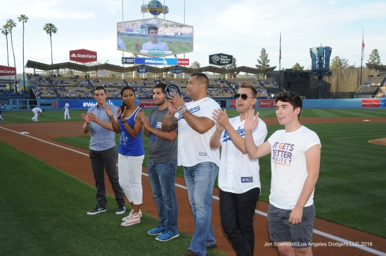 Los Angeles Dodgers welcome LGBT honorees prior to game against the Atlanta Braves Friday, June 3, 2016 at Dodger Stadium in Los Angeles,California. Photo by Jon SooHoo/© Los Angeles Dodgers,LLC 2016