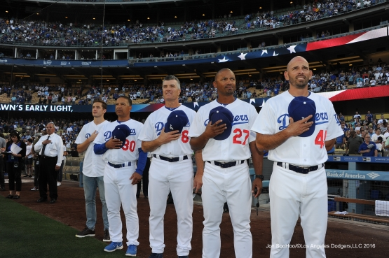 Los Angeles Dodgers stand for the anthem prior to game against the Atlanta Braves Friday, June 3, 2016 at Dodger Stadium in Los Angeles,California. Photo by Jon SooHoo/© Los Angeles Dodgers,LLC 2016