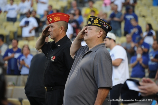 Los Angeles Dodgers Military Heroes of the game stand for the anthem   prior to game against the Atlanta Braves Friday, June 3, 2016 at Dodger Stadium in Los Angeles,California. Photo by Jon SooHoo/© Los Angeles Dodgers,LLC 2016