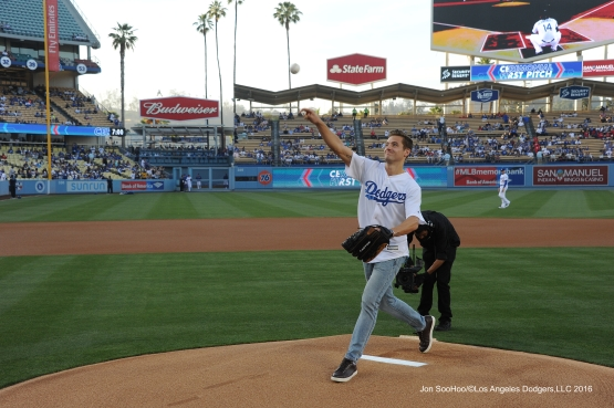 Robbie Rogers throws out the first pitch prior to game against the Atlanta Braves Friday, June 3, 2016 at Dodger Stadium in Los Angeles,California. Photo by Jon SooHoo/© Los Angeles Dodgers,LLC 2016