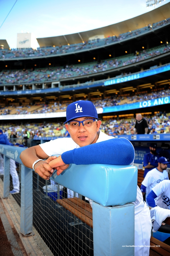 Los Angeles Dodgers Julio Urias poses prior to game against the Atlanta Braves Friday, June 3, 2016 at Dodger Stadium in Los Angeles,California. Photo by Jon SooHoo/© Los Angeles Dodgers,LLC 2016