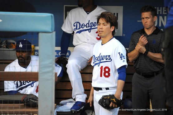 Los Angeles Dodgers Kenta Maeda prepares to take the field prior to game against the Atlanta Braves Friday, June 3, 2016 at Dodger Stadium in Los Angeles,California. Photo by Jon SooHoo/© Los Angeles Dodgers,LLC 2016